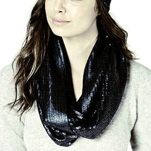 INC Macy's Liquid Shine Infinity Scarf Black NWT!